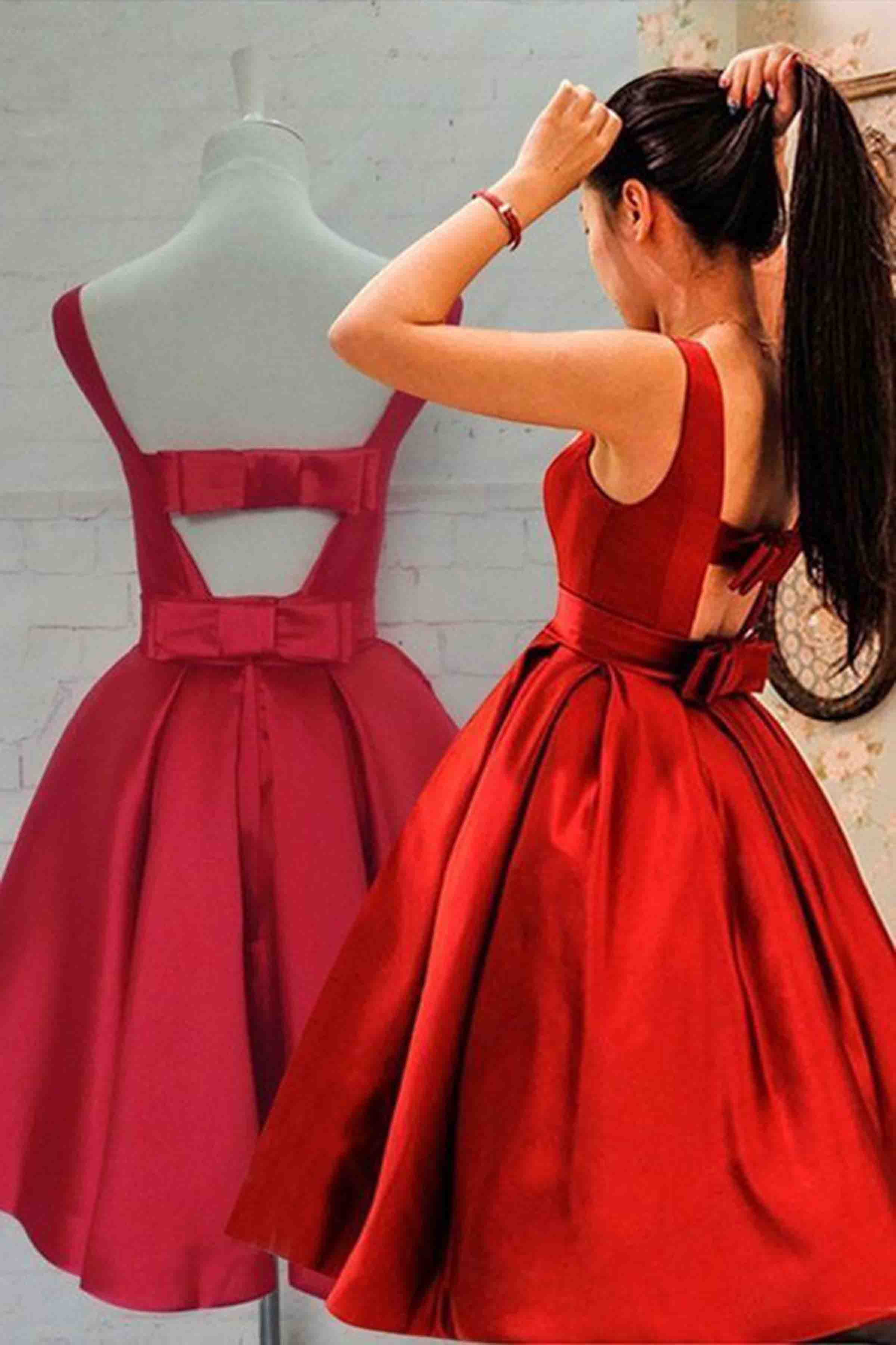 f5d55671153 Red satin bowknot short dress