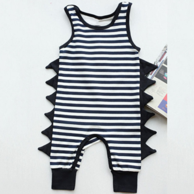 a223ff10a0b Baby toddler navy striped dino romper - Thumbnail 2