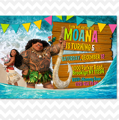 moana invitation  moana invites  moana birthday invitation