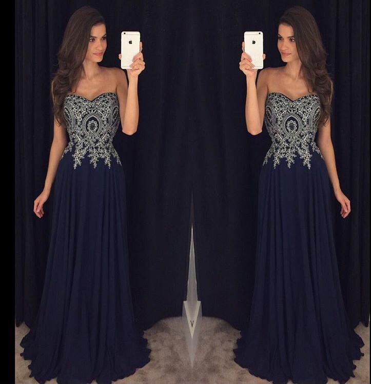 Navy Prom Dress Long, Prom Dresses,Graduation Party Dresses, Prom ...
