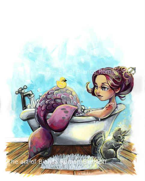 Bathtub Mermaid Print · Art of Bianca Roman-Stumpff ...