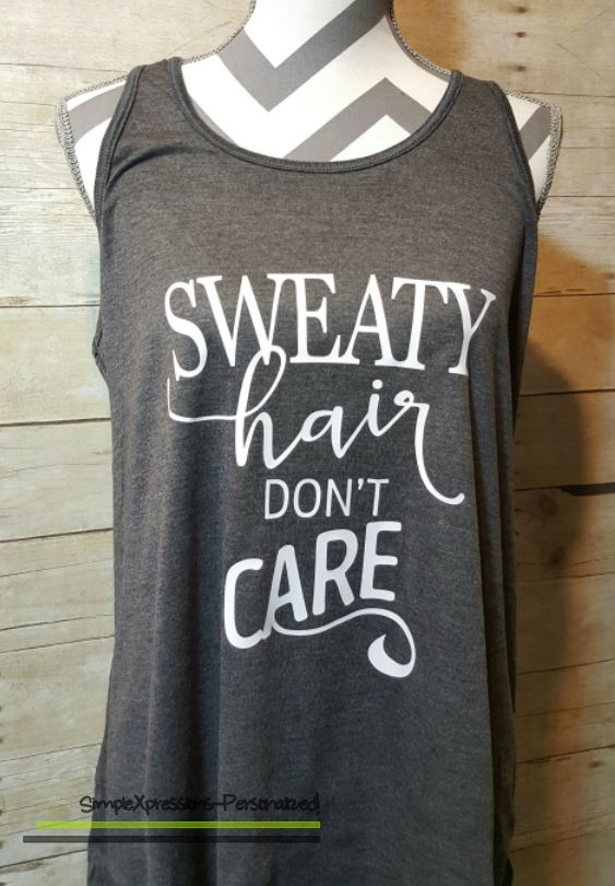 c403dd54 Sweaty Hair don't care-Funny Workout Tank | Workout Tank | Workout ...