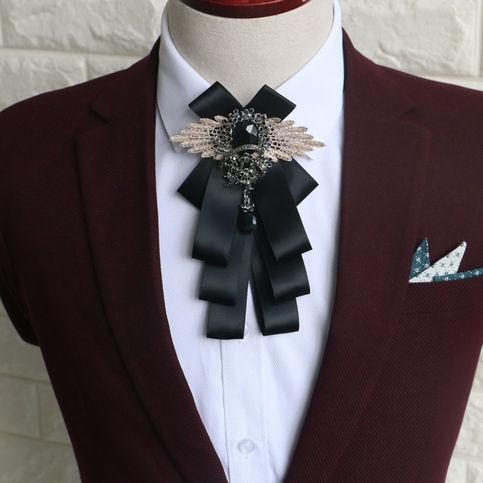 Color Ribbon Wedding Men Pre Tied Bow Tie Rhinestone