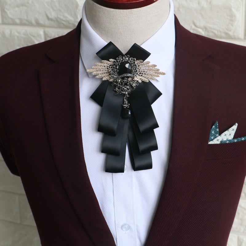 ff2d58794753 Color Ribbon Wedding Men Pre Tied Bow Tie Rhinestone Crystal Brooch Pin Clip
