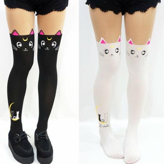 940f1dca3fe FREE Shipping 2 PCS Sailor Moon Anime Artemis Stocking Tights ...