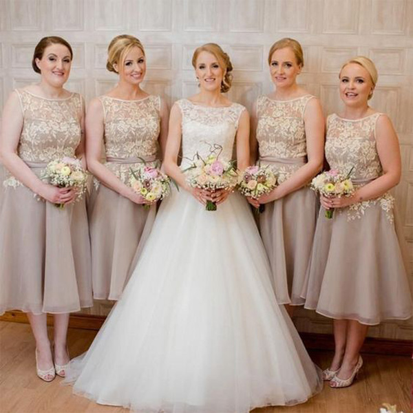 fashion styles info for order Elegant A-Line Scoop Neck Champagne Tea-Length Bridesmaid ...