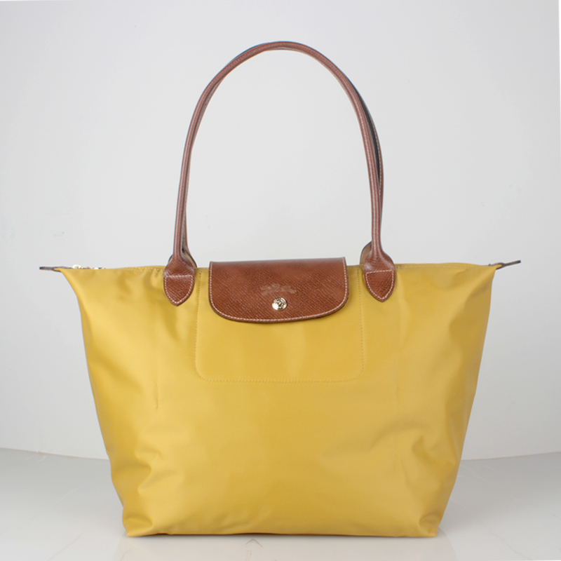 France Made Auth Longchamp Le Pliage Nylon Large Tote Bag Curry ... a02f317305790
