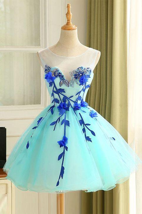 Lovely Cute Prom Dress Cute Blue Organza Short Prom Dress