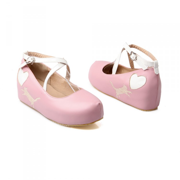 740a13c75050 ... Japanese Kawaii Cat Heart Wedges Lolita Girly Platform Shoes DC350 -  Thumbnail 3 ...