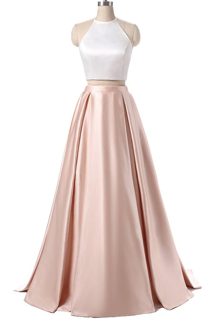 XP357 Elegant satins two pieces prom dress,halter simple long dress ...