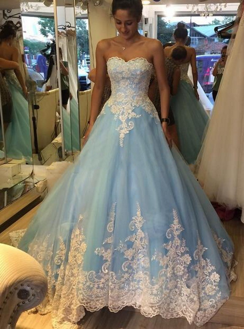 Ice Blue Lace Applique Prom Dress,Ball Gown Prom/Evening Dress ...