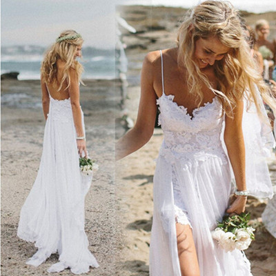 Beach Simple Wedding Dresses Casual Wedding Dresses White Tulle A Line Wedding Dress Princess V Neck Spaghetti Straps Wedding Dresses Sd012
