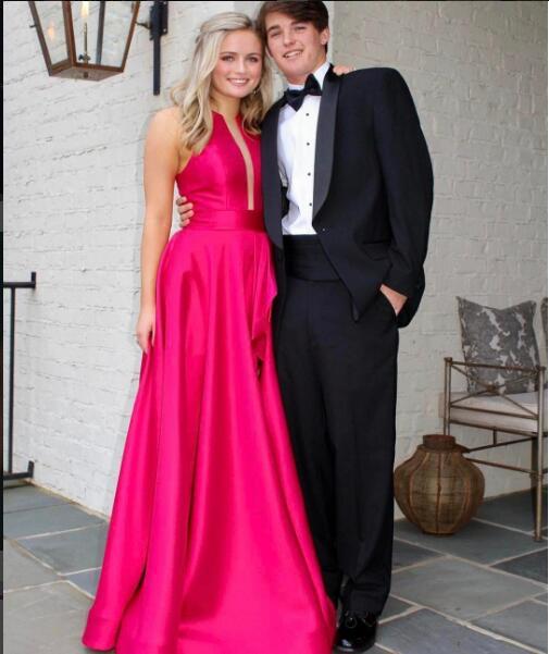 Sexy Fuchsia Prom Dress Evening Dress A Line Satin Long Evening