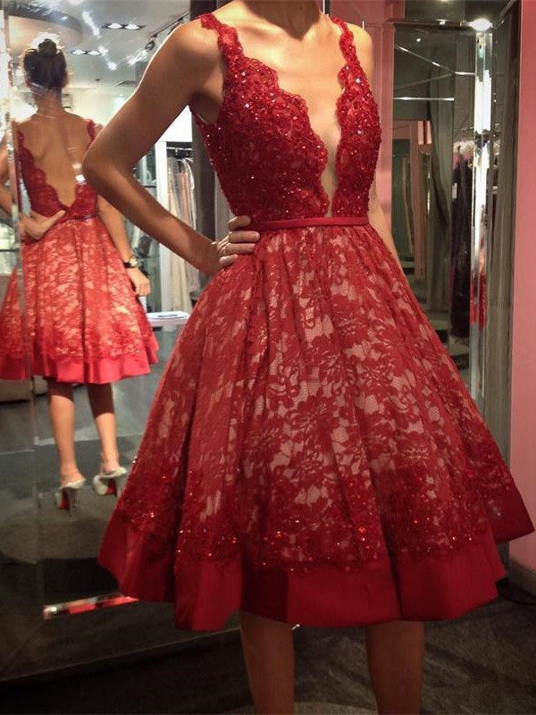6567ee3c2e1 Red Lace Homecoming Dress