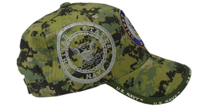 (LICENSED-U S NAVY-VETERAN &  NEW-GREEN-DIGITAL-CAMO,WITH-NAVY-EMBLEM,NICE-PREMIUM-GRAPHIC-EMBROIDERED-HATS:)