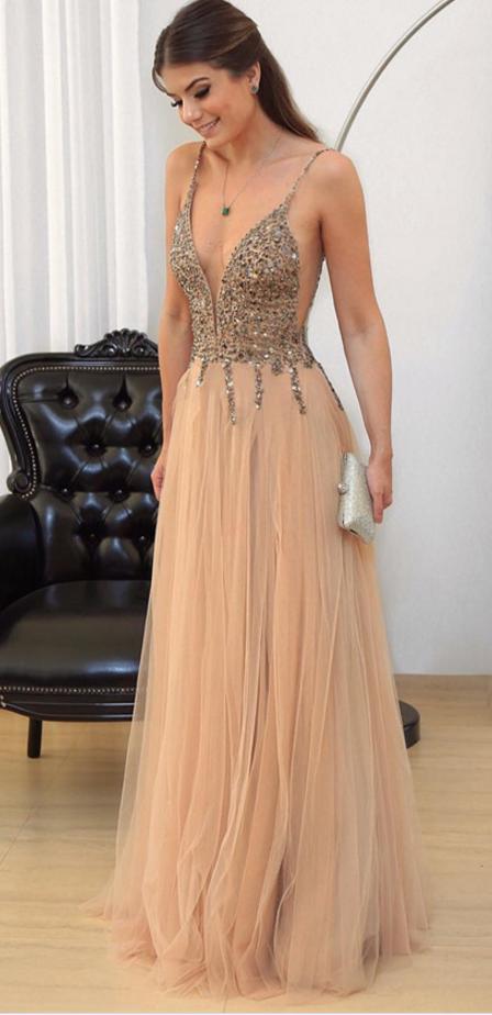 8510afb25ecd Sexy Prom Dresses,Sleeveless Beads Crystal Evening Dress,Long ...