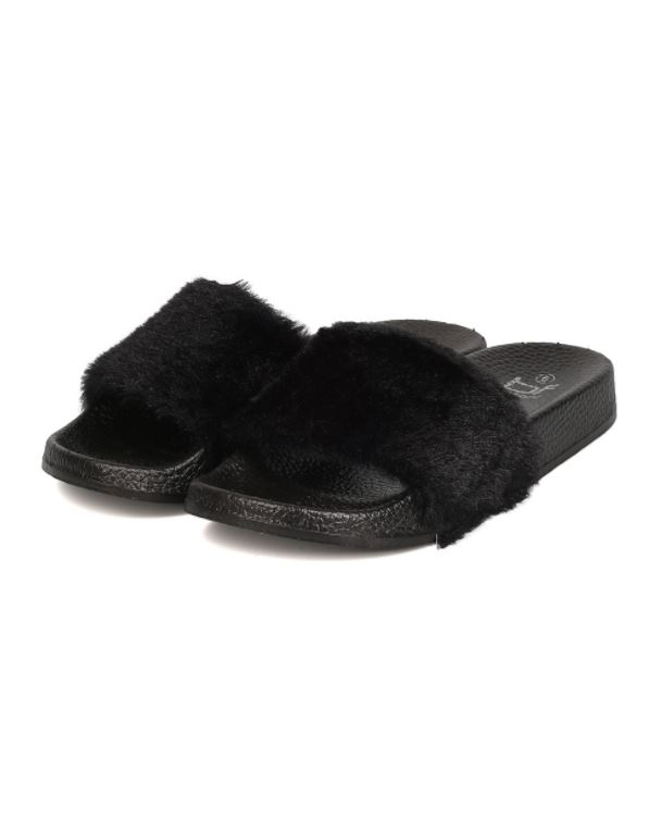 b5f47bc2186 Black Faux Fur Slides on Storenvy