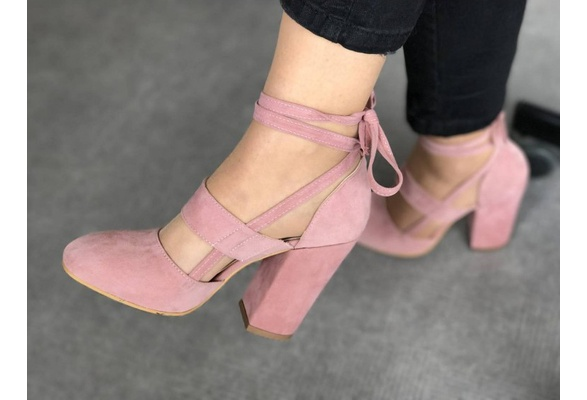 ce0bef3d98aa10 ... Women Sexy Heels 3 Colors Suede Straps Thick High Heeled Shoes Summer  Party Sandals - Thumbnail ...