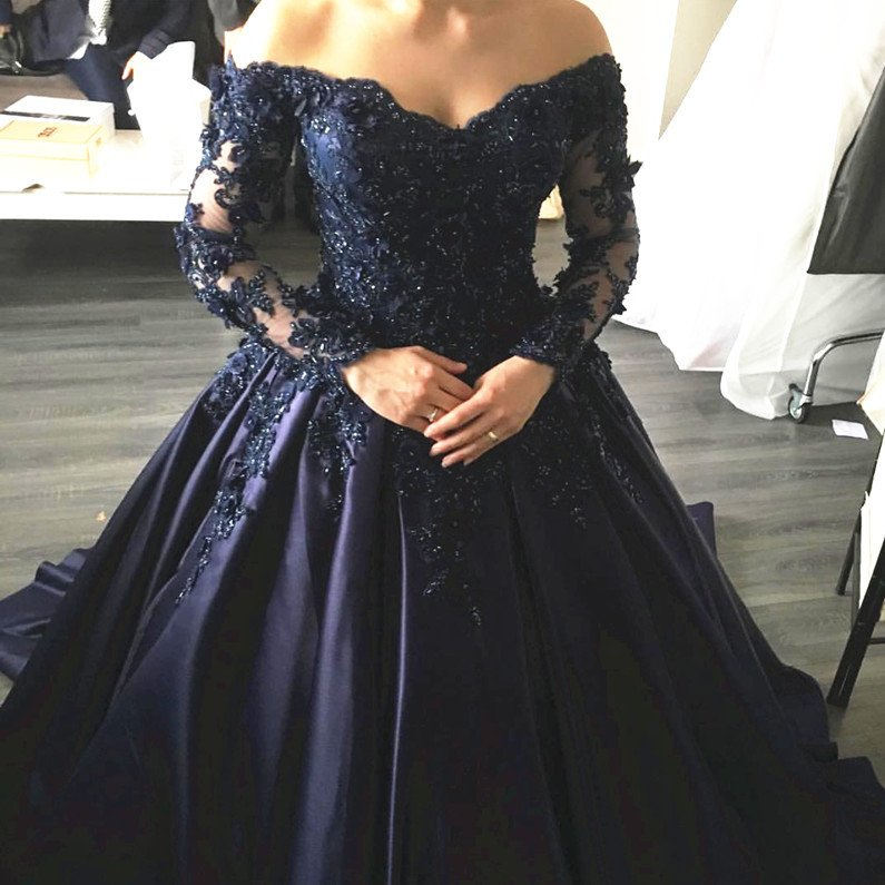 Navy Blue Lace Appliques Long Sleeves Ball Gowns Wedding Dress With Off Shoulder Jd 131 From June Bridal