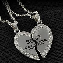 e0fb512ceb Charming Fashion Silver Plated Engraved Friendship Split Half Heart ...