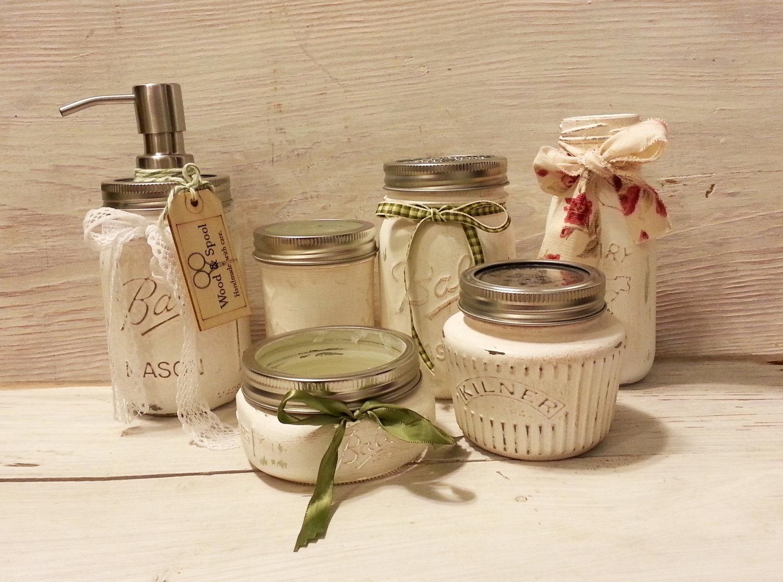 6 Pc Mason Jar Set Country Bathroom Decor Mason Jar Bathroom Set Kitchen Set Mason Jar Decor Mason Jar Soap Pump Rustic Bathroom Sold By Wood