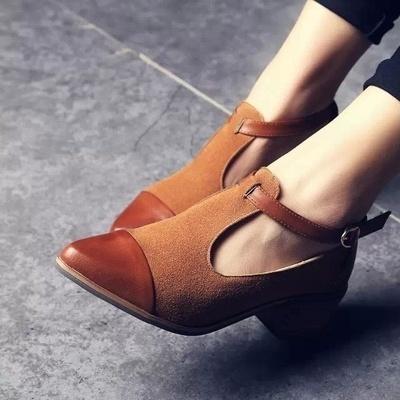 Women heels retro ladies shoes women high heels wood chunky heel pointed toe high heels t-strap solid women pumps