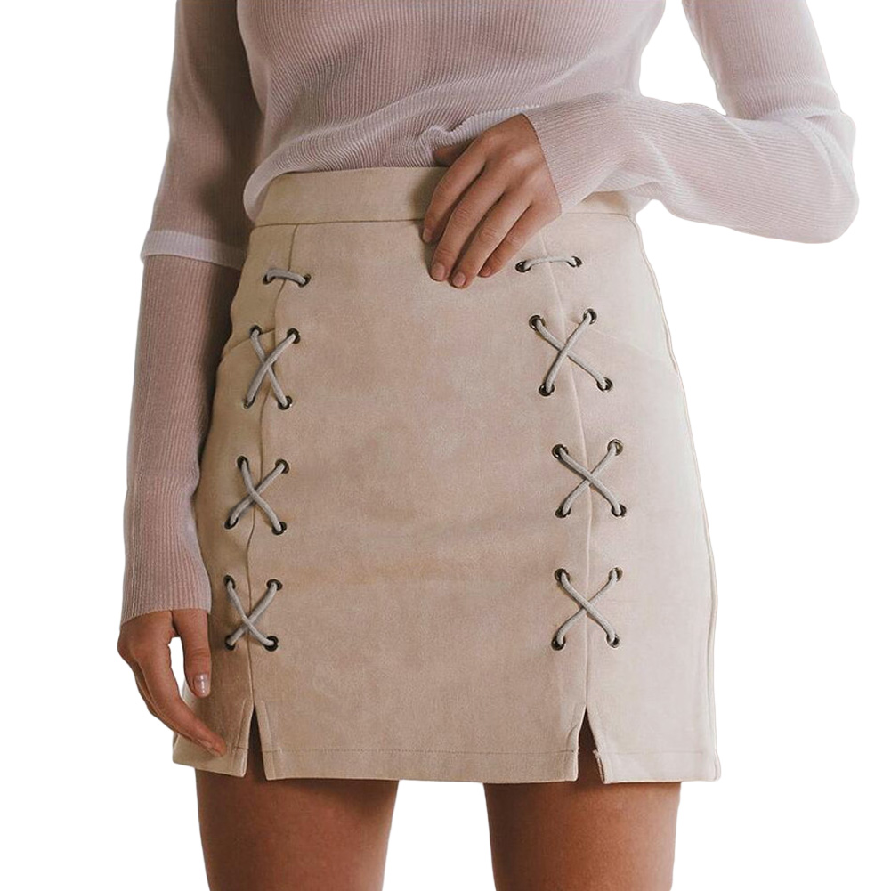 60f9652b8a Autumn Women Lace Up Suede Leather Pencil Skirt High Waist Zip Back ...