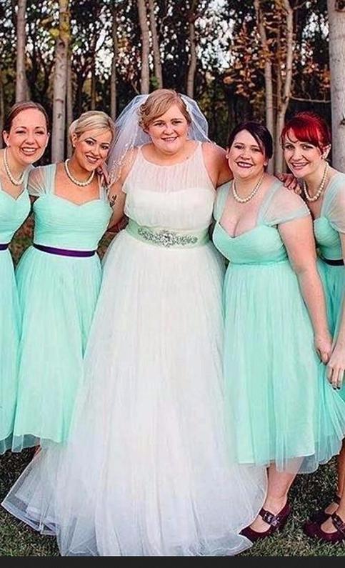 Plus Size Mint Green Bridesmaid Dresses Hot Sale A Line