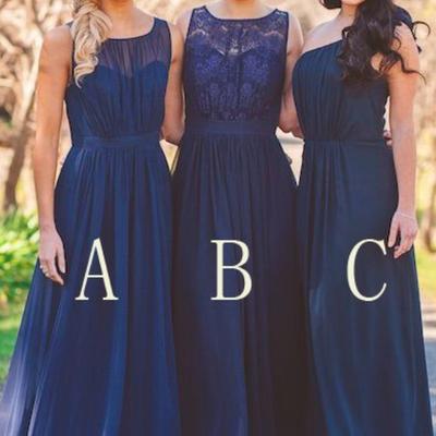 Navy blue chiffon a line bridesmaid dresses robe de demoiselle d honneur  femme robe de demoiselles 81062f7ca