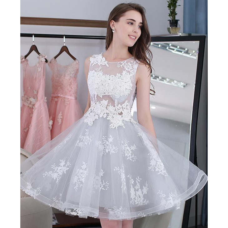 Sweet Short Homecoming Dresses A Line Lace Prom Dresses Scoop Neck