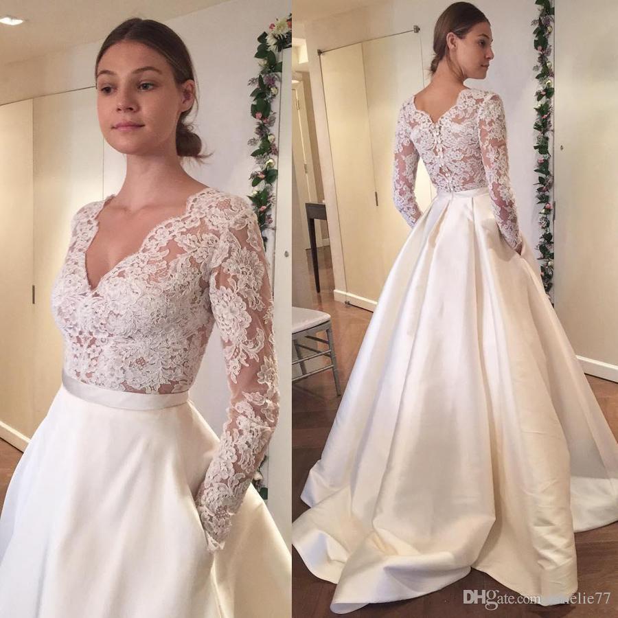96f389229e XP338 2017 New Vintage Wedding Dresses V Neck Long Sleeve Lace Applique  Satin A Line Elegant