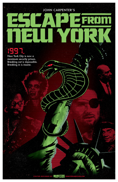 Escape From New York Poster.Escape From New York 1981 Print Button Monsters Are Good