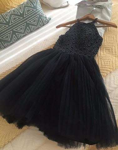 69a8f3bf097 Cute black round neck tulle short prom dress
