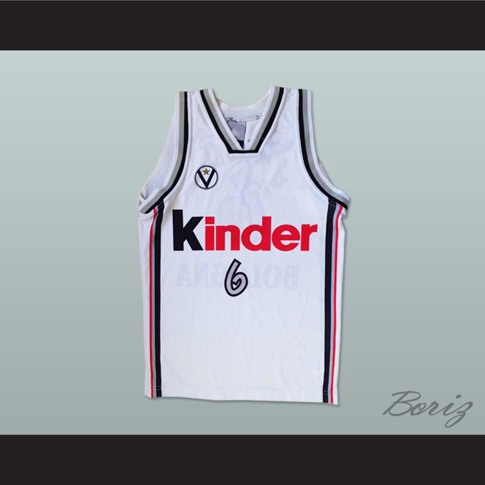 169d6f70b04 Manu Ginóbili European Basketball Kinder White 6 Stitch Sewn All Sizes New