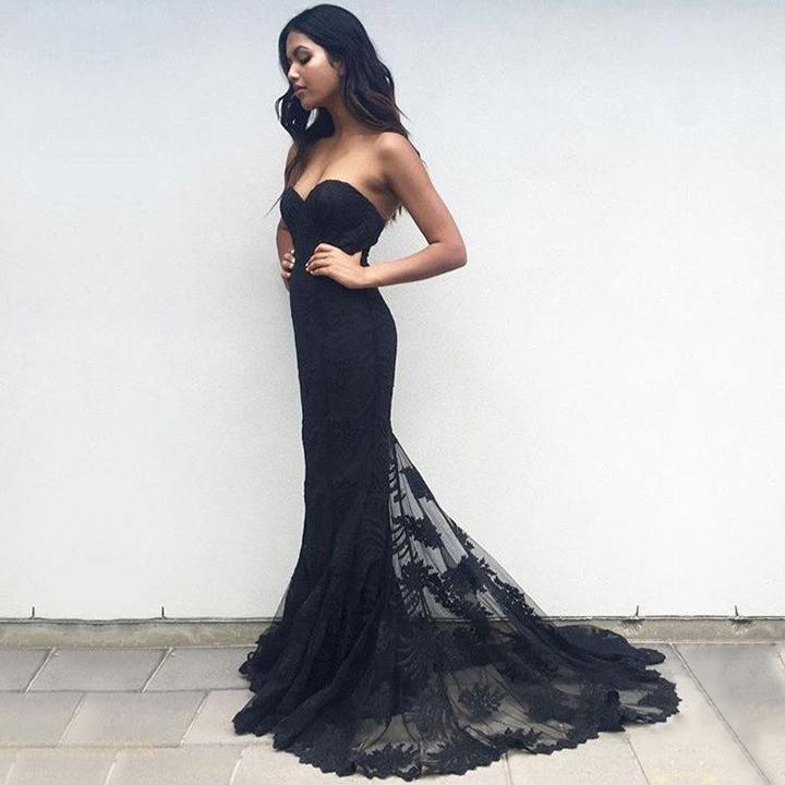 Latest Trumpetmermaid Prom Dresses Sweetheart Tulle Black Formal