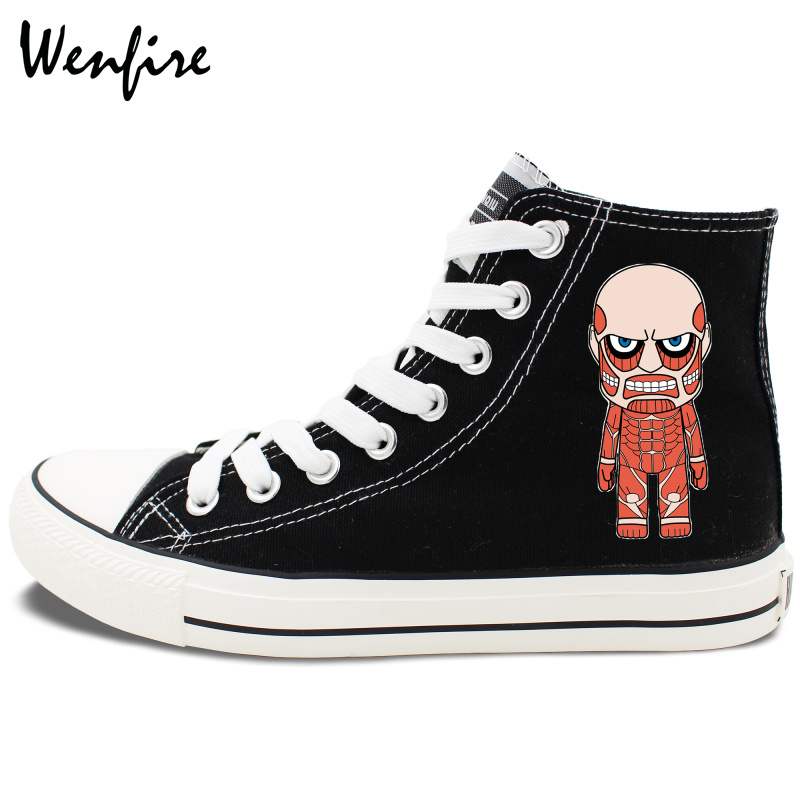 3c1acb8a Wenfire Anime Attack on Titan High Top Black Sneakers Men Women's Canvas  Shoes
