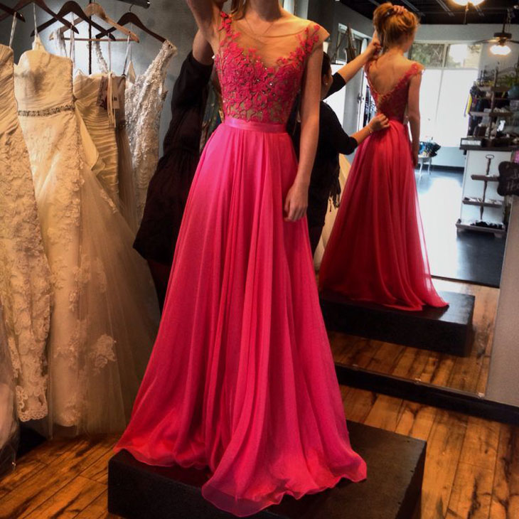 Long Prom Dresses Chiffon Scoop Neck Fuchsia Evening Dresses Tulle