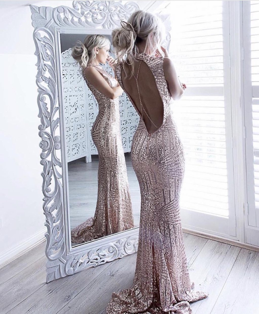 Rose Pink Prom Dresses,Sequin prom gown,long prom dress,backless ...