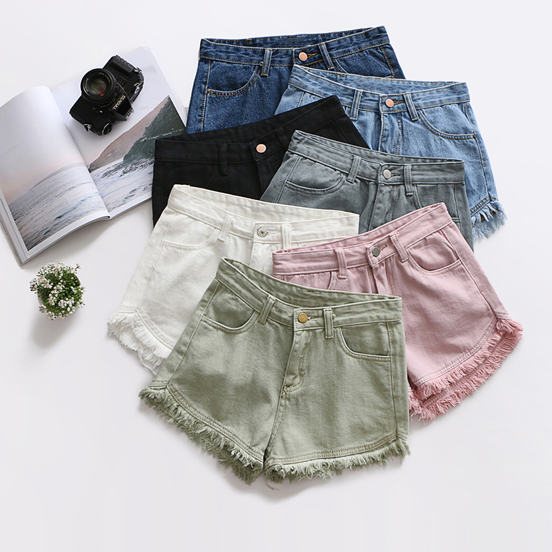 fd39c400ca Ripped frayed edge denim shorts women high waist short jeans feminino  pockets black white shorts jeans