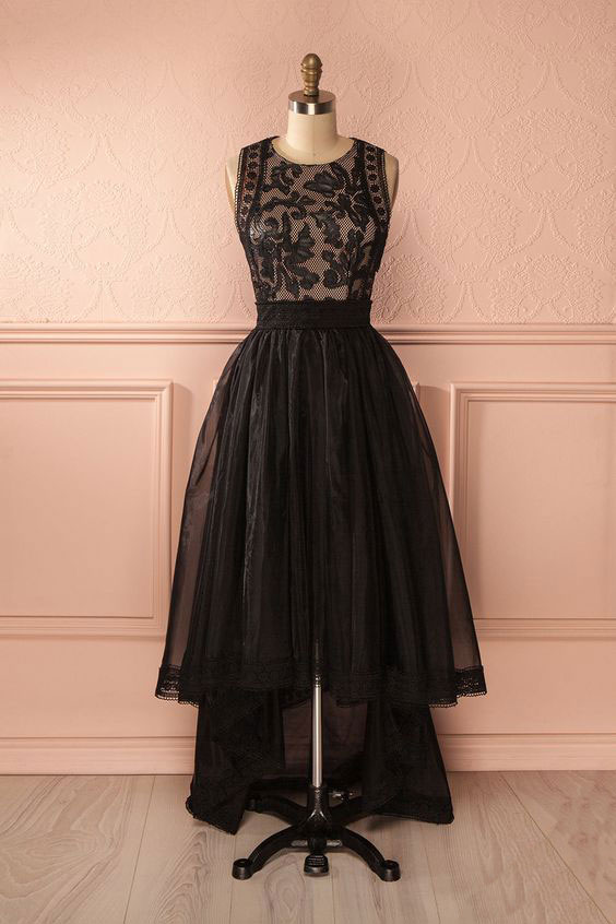 dress day   Cute lace tulle high low black prom dress, black ...