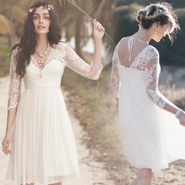 Knee length Long Sleeve V-neckline Vintage Lace Wedding Dress,Long ...