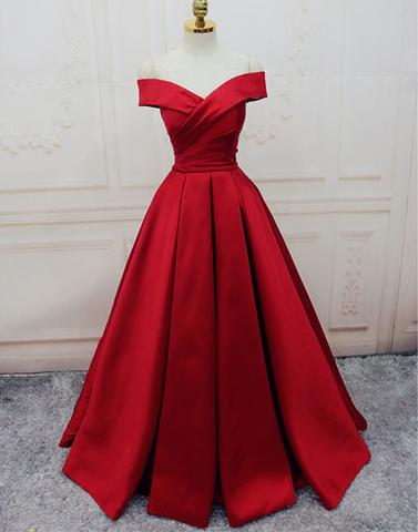 6ff6824d33a Custom made red off shoulder long prom dress