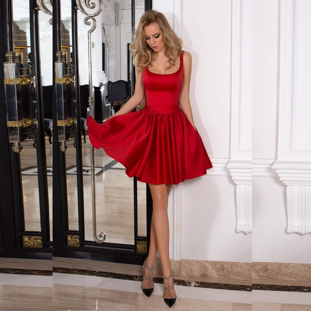 ec0da8120ec6 Stylish red satin A line mini prom dress, red homecoming dress on Storenvy