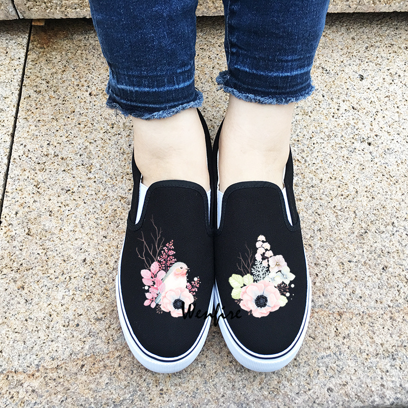fee4fc5ab8d3 Wenfire Women Men Canvas Shoes black Sneakers Skateboarding Shoes Bird  Floral Flowers Original Design Slip On Flats Shoes on Storenvy