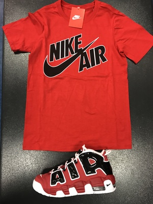 the latest f8ec2 94805 NIKE AIR MORE UPTEMPO CHICAGO BULLS RED SHIRT