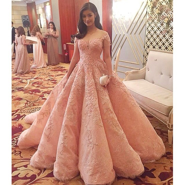 Gorgeous Pink Lace A-line High Low Quinceanera Dresses,Princess Ball ...
