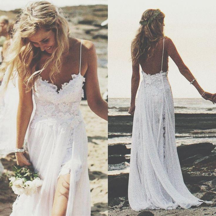White Long Wedding Dresses for Summer