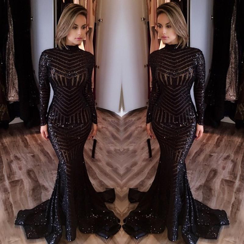 Long prom dress sequin Black