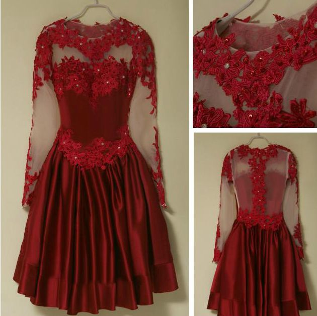 Red Long Sleeve Short Lace Homecoming Dresses