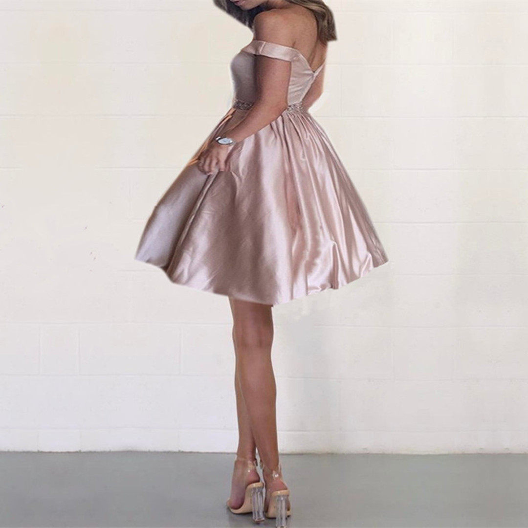 1c488b4c07 Off the shoulder Short Champagne Homecoming Dress · wendyhouse ...